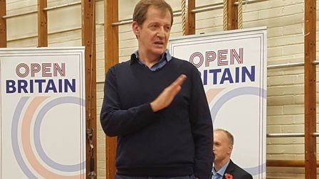 Alistair Campbell addresses the audience at the Open Britain event in Hampstead
