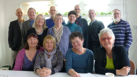 Barbara (front row on right) and Anne (middle row on left) with other members of the Cannock Mill Co