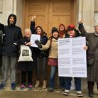 Campaigners hand in a petition last year, calling on Hackney Council to save the Britannia Leisure C