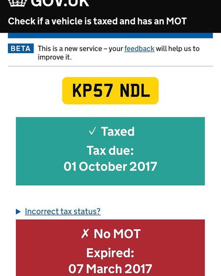 A screen-shot showing a Camden Council vehicle with an expired MOT