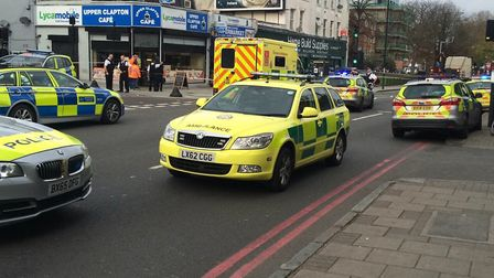 Emergency services at the scene in Upper Clapton Road. Picture: @999London