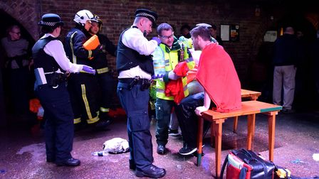 Emergency crews demonstrate their response to an acid attack at Cargo, Rivington Street, in a drill