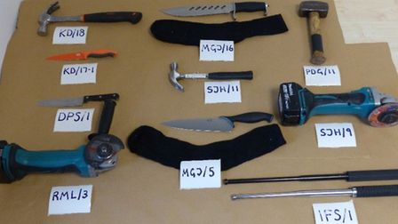 Tools and weapons were seized during the police operation including hammers, knives and angle grinde