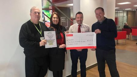 Pictured L to R: Adrian Nowell, Jacqueline Ritchie (branch manager at Santander), Stephen Hart (busi
