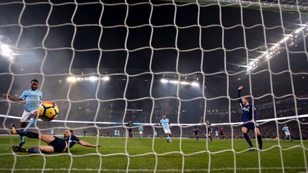 Manchester City's Raheem Sterling scores his side's third goal of the game during their Premier Leag