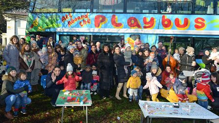 Diane Abbott MP visiting the Playbus in Springfield Park. Picture: Gareth Harmer