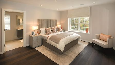 Inside one of the six bedrooms at this �10 million property on Bishopswood Road.