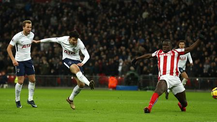Heung-min Son scores the second goal for Tottenham Hotspur against Stoke City (pic: PA Wire)