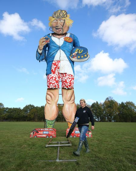 The Edenbridge Bonfire unveil their celebrity effigy of Boris Johnson ahead of their bonfire celebra
