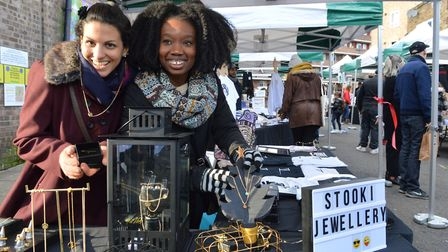 Young students and entrepreneurs Nadia Abbas and Bosola Ajenifuja with their Stooki Jewellery stall