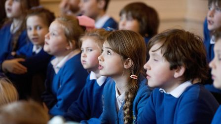 Somerleyton Primary school youngsters sing songs during the penny bun day at Somerleyton Hall..Pictu