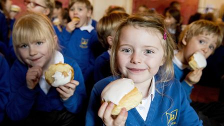 Youngsters from Somerleyton Primary school enjoy the penny bun day at Somerleyton Hall.Picture: Nick