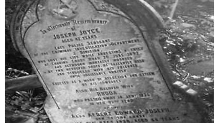 The grave of Joseph Joyce who was shot in his stomach while apprehending a thief who stole money fro