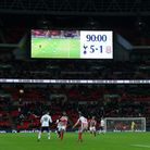 The scoreboard tells the story during the Premier League match at Wembley Stadium (pic: PA Images),