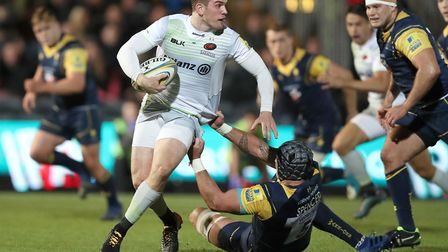 Ben Spencer, seen here in action earlier in the season, scored a try for Saracens in their European
