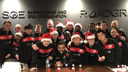 Saracens number eight Billy Vunipola (front row, centre) joined Saracens Disability Programme youngs