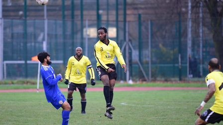 A Hackney Wick player heads the ball forward against Sporting Bengal United (pic: Tim Edwards)