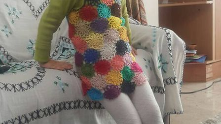 Nazanin made Gabriella this freedom pinafore in her Iran jail with leftover wool from other prisoner