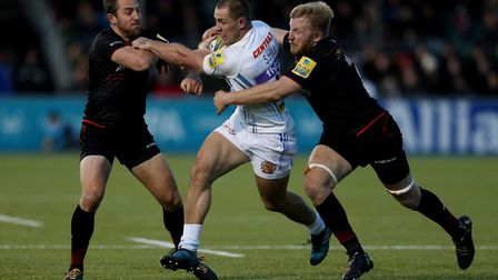 Jackson Wray (right) and Saracens colleague Chris Wyles (left) tackle Sam Hill of Exeter Chiefs (pic