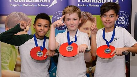 Sir Thomas Abney pupils celebrate their success at the East London finals of the Jack Petchey School