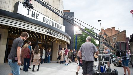 Cast and crew shoot scene outside Muswell Hill's Everyman Cinema for new movie 'Film Stars Don't Die