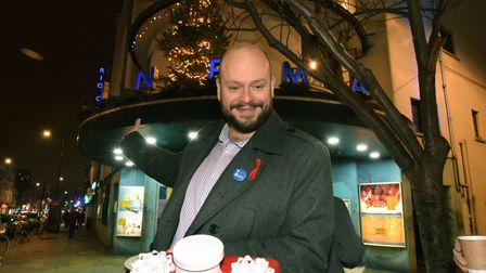 Mayor of Hackney Philip Glanville turns on the Christmas lights at the Rio Cinema on Friday. Picture