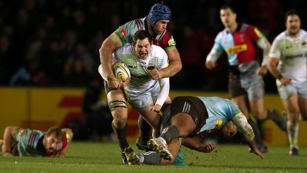 Alex Goode carries the ball forward for Saracens against Harlequins (pic: Paul Harding/PA)