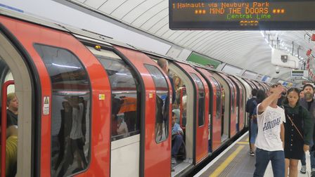 A file image of a Central Line Tube train.
