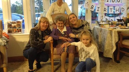 Five generations of family pictured at Iris Emmerson's 100th birthday party. Pictured centre is Iris