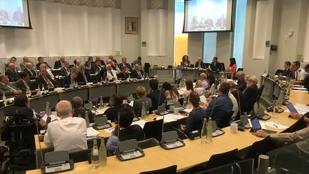 Suffolk's budget was agreed by the cabinet. It will be debated by the full council, pictured, next m