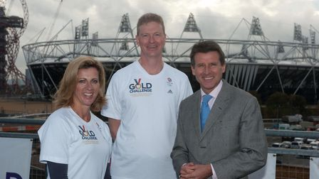 Dan with former Olympic hurdler Sally Gunnell and Lord Coe. Picture: DAN THOMSPSON