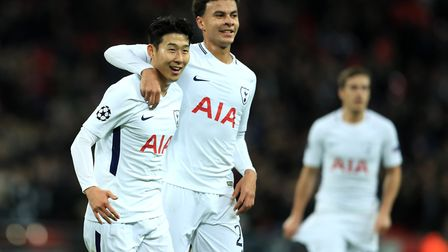 Tottenham Hotspur's Heung-min Son (left) celebrates with Dele Alli after scoring against APOEL (pic: