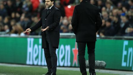 Tottenham Hotspur manager Mauricio Pochettino gestures on the touchline during their Champions Leagu