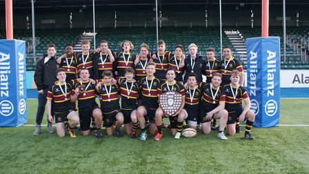 University College School celebrate their Middlesex Cup triumph over Harrow School (pic: UCS)