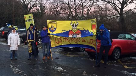 Clermont Auvergne fans outside Allianz Park ahead of the rearranged European Champions Cup match aga