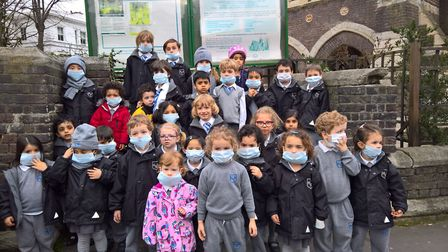 Hampstead kids protest against pollution outside St Stephen's in Rosslyn Hill. Picture: JESSICA LEAR