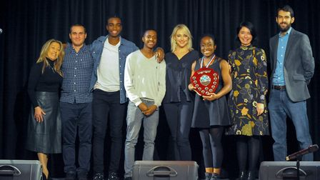 Jessica, winner of Fiorentini's Got Talent 2017 with the judges. Picture: Michael Bourke