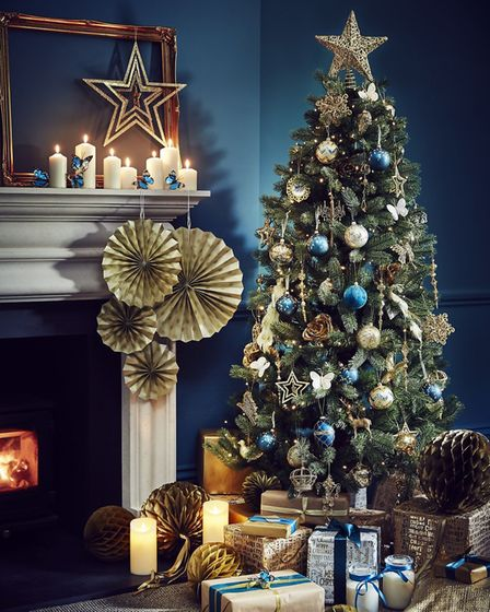 Burnished Gold & Brilliant Blue: Slim Evergreen Spruce Tree, 6.5 feet; decorations; Gold Glitter mul