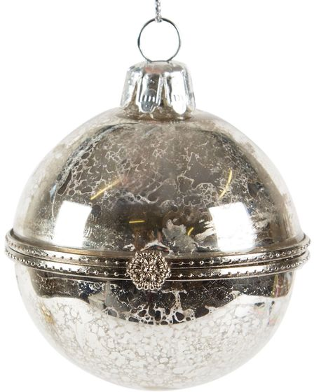 Create A Snowy Scene: Antique Silver Trinket bauble, Dobbies