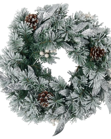 A Snowy Scene: Large snowy pre-lit wreath, Marks & Spencer