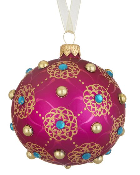 Look East: Tales of the Maharaja floral gem trellis pink bauble, John Lewis