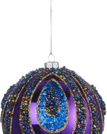 Burnished Gold & Brilliant Blue: Beaded Peacock bauble, available in stores, George Home at Asda