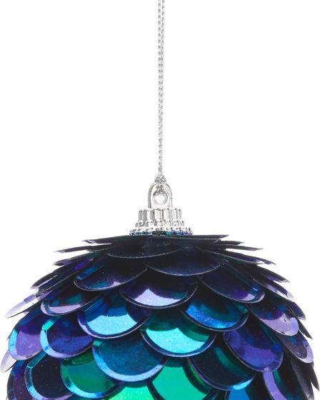 Burnished Gold & Brilliant Blue: Dark Romance collection Purple Peacock Sequins bauble, George Home