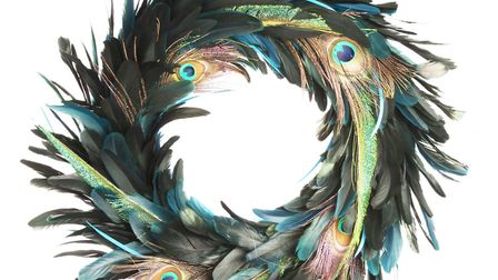 Burnished Gold & Brilliant Blue: Feather Peacock wreath, Gisela Graham, The Contemporary Home