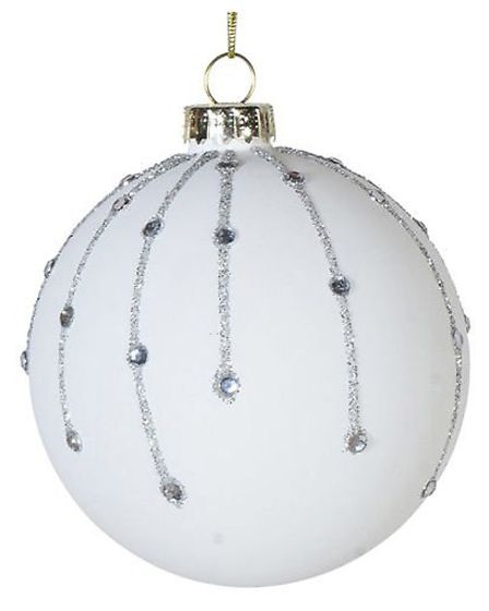 Set A Snowy Scene: White Glitter and Diamantes bauble, Shabby Store