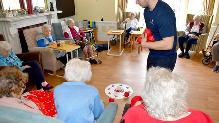 Residents took part in a game of boccia - a type of bowls played in the Paralympics - which involves