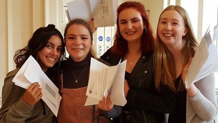 Henrietta Barnett School students collecting their GCSE results. Credit: Henrietta Barnett School