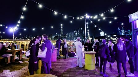 The car park at Tobacco Dock has been converted into a rooftop venue, Skylight. Picture: Steve Dunlo