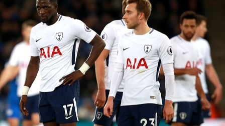 Tottenham Hotspur's Moussa Sissoko and Tottenham Hotspur's Christian Eriksen appear dejected during