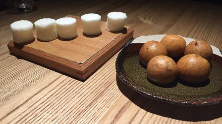 Chocolate in sweet tempura and yuzu marshmallows at Untitled. Picture: Pat Venditti